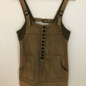 Free People Olive Green Coverall Dress XS